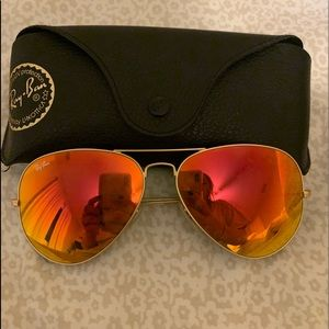 Ray ban orange-red aviators (Large Size)